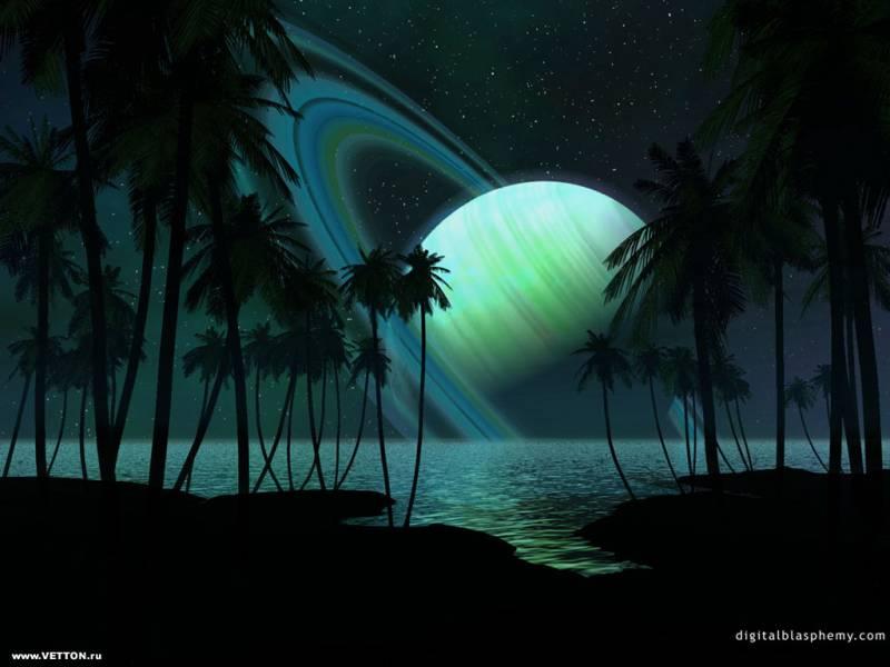 Море пальмы космос планета